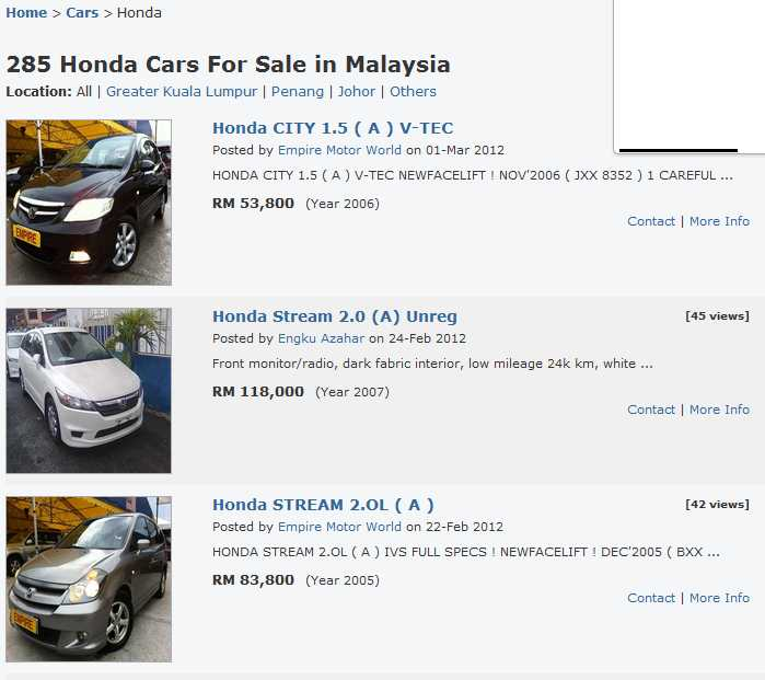 At Here You Can Start Browsing For Your Desired Car That Available On Different States Other Than Kuala Lumpur Each Cars Posted The Page Completed With