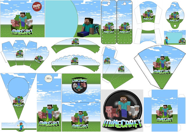 Kit para Fiesta de Minecraft para Imprimir Gratis.