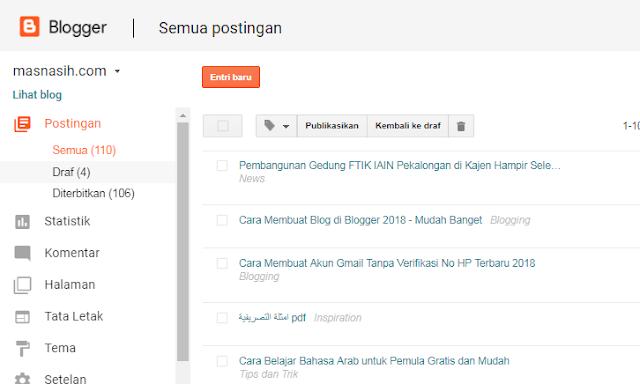 Gambar tampilan antar muka blogger