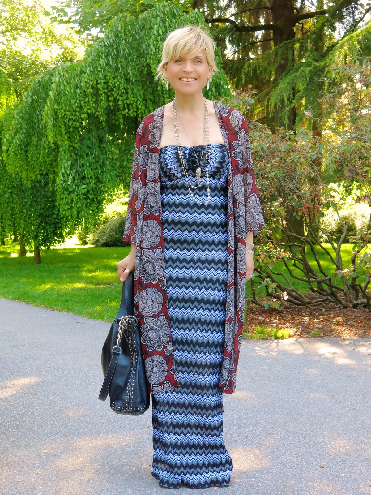 Memory lane:  Striped maxi dress with a floral kimono