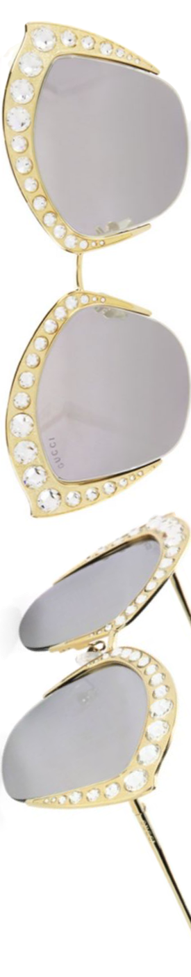 Gucci Crystal-Trim Mirrored Cat Eye Sunglasses