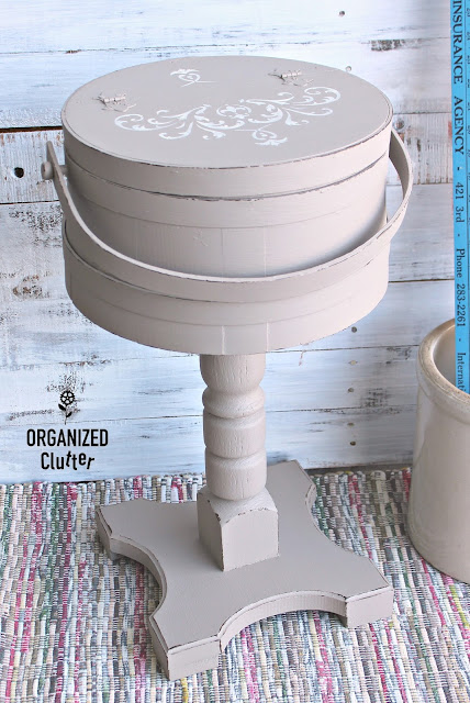 Thrift Shop Firkin Repurposed As Pedestal Side Table #thriftshopmakeover #garagesale #firkin #Upcycle #repurpose #stencil #fusionmineralpaint