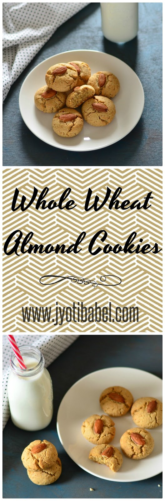 Eggless Whole Wheat Almond Cookie Recipe. A perfect cookie to go with a glass of milk
