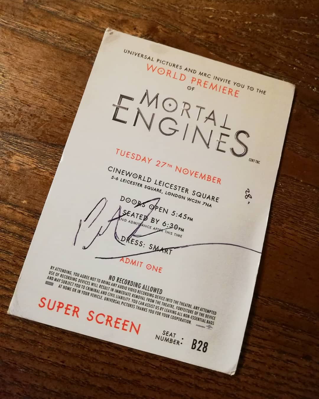 mortal engines ticket signed by peter jackson