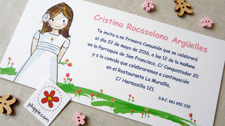 Invitacion comunión niña