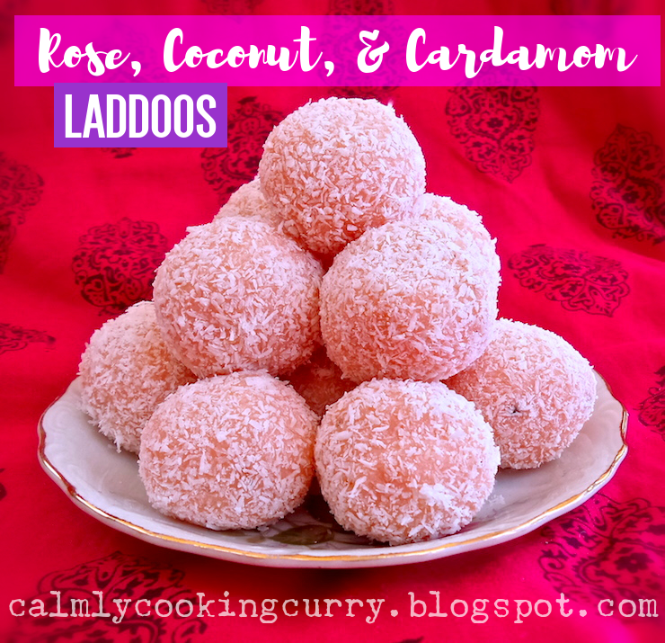 cardamom, cardamom. Rooh Afza, coconut, condensed, Desi, dessert, easy, Indian, laddoos, milk, mithai, Recipe, rose, simple, sweetened,