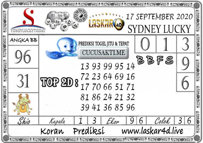 Prediksi Sydney Lucky Today LASKAR4D 17 SEPTEMBER 2020