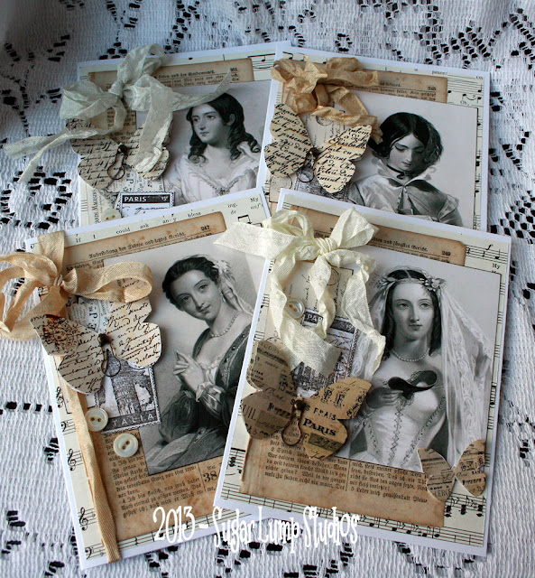 shabby white cards by Nancy of Sugar Lump Studios