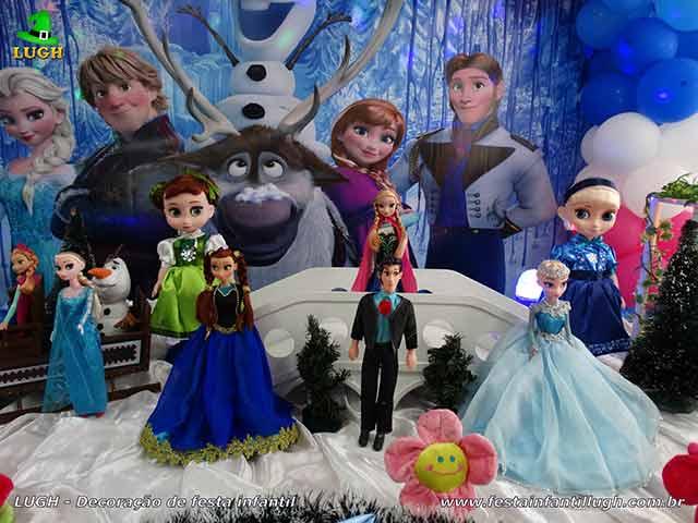 Decoração de mesa de aniversário Frozen - Festa infantil