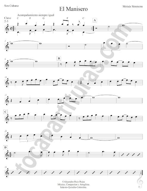 El Manisero de Moisés Simmons Partitura Fácil con Acordes El Manisero Easy Sheet Music with Chords