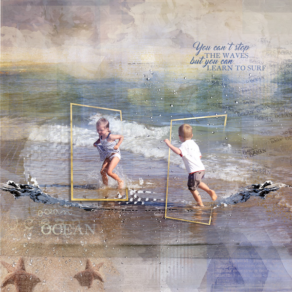 clin d'oeil design clindoeildesign NBK design Beyond the sea artsy scrapbook layout out of the frame sea ocean summer template east to use