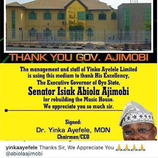 Yinka Ayefele Thanks Gov. Ajimobi For Rebuilding His Radio House