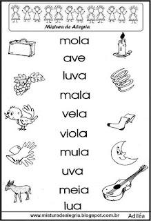 Atividades de alfabetização, famílias silábicas