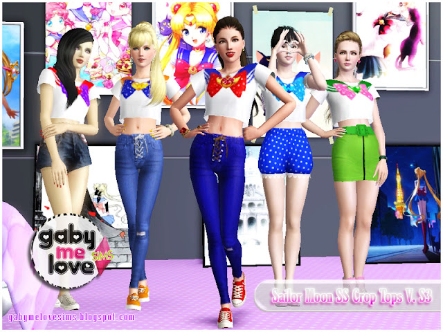 Sailor Moon SS Crop Tops V.S3, Sims 3. Sailor Inners.