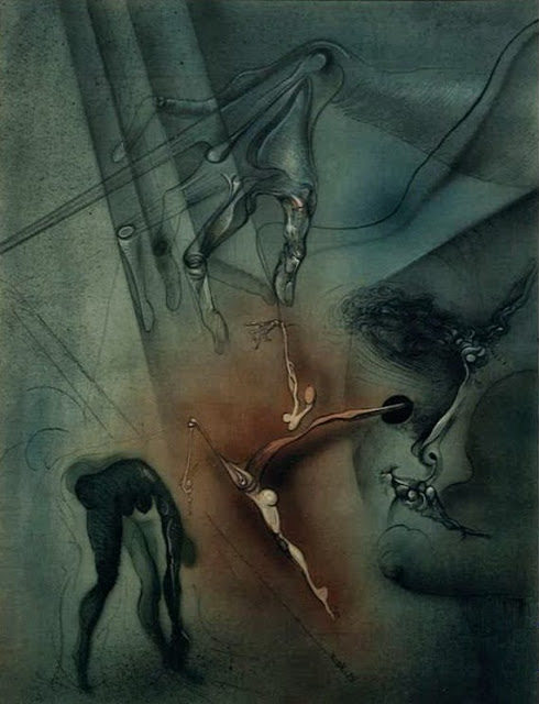 Dibujo surrealista pintor catalán modernista Joan Rifà