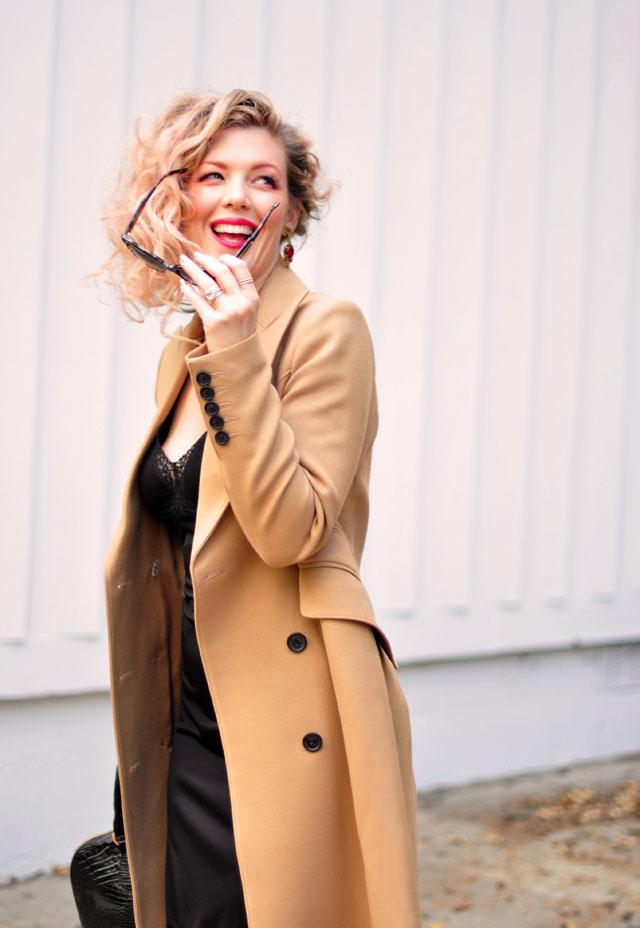Camel Coat & Vintage Black Slip {dress}
