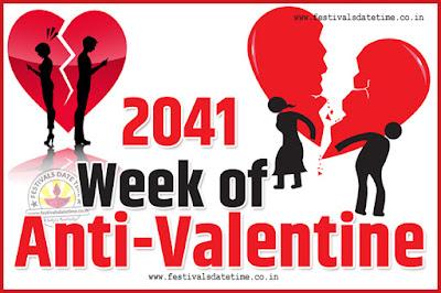 2041 Anti-Valentine Week List, 2041 Slap Day, Kick Day, Breakup Day Date Calendar