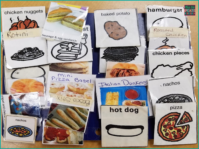 Picture choice boards for ordering lunches daily