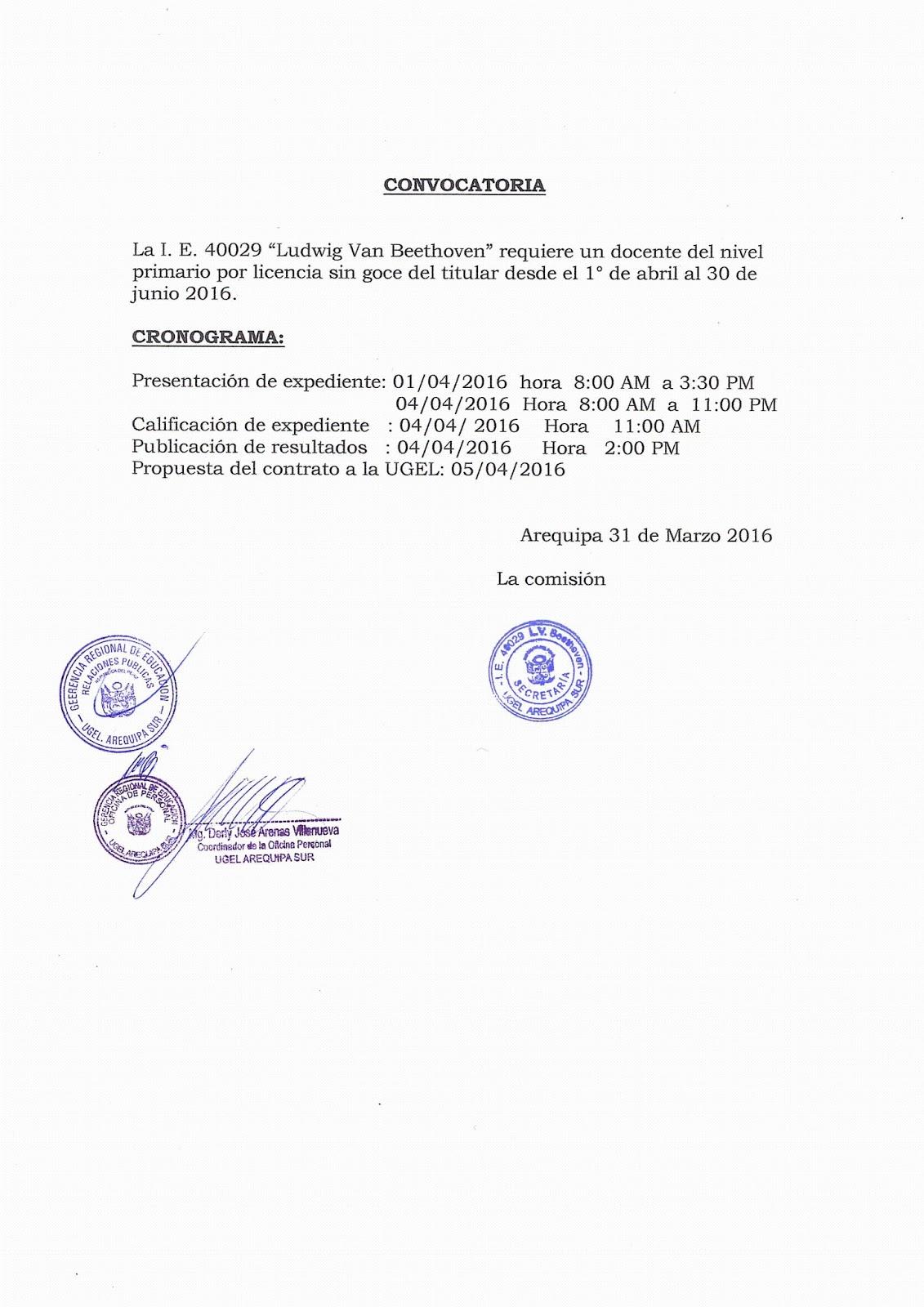 Convocatoria para contrato docente abril ugel arequipa Convocatoria para las plazas docentes 2016