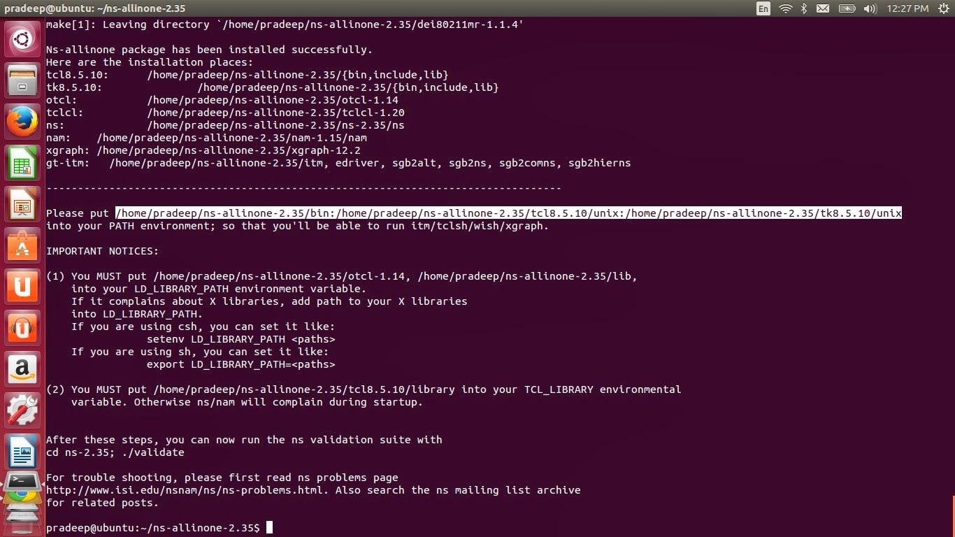 Ns2 installation and simulation on ubuntu youtube.