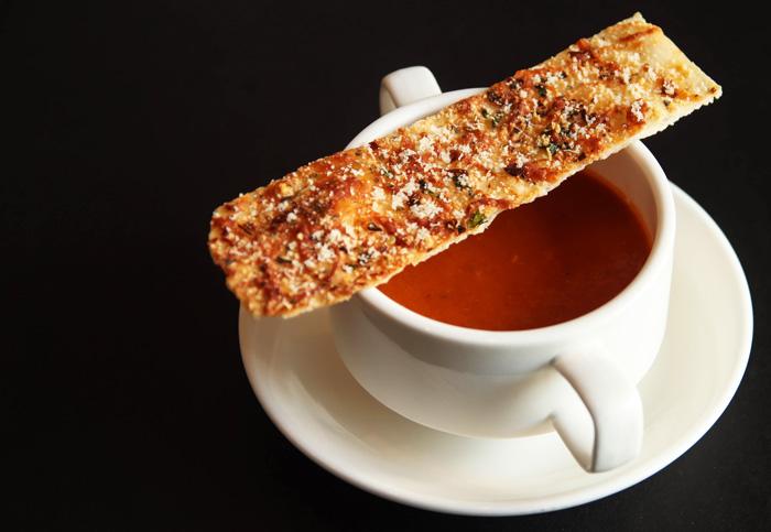 Parmesan Tomato Basil Soup, Mozzarella, Chili, Flatbread Sticks