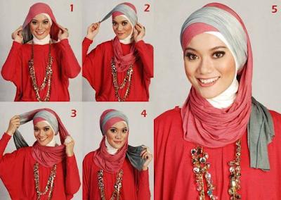 Gambar Cara Memakai Jilbab Segi Empat Peraktis