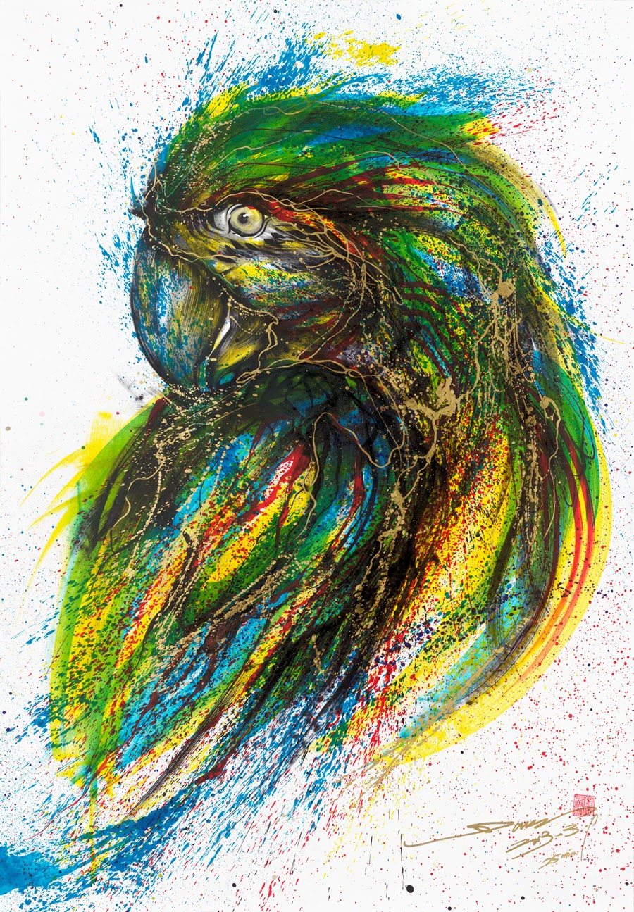11-Parrot-1-Hua-Tunan-huatunan-Melting-&-Running-Ink-Drawings-www-designstack-co