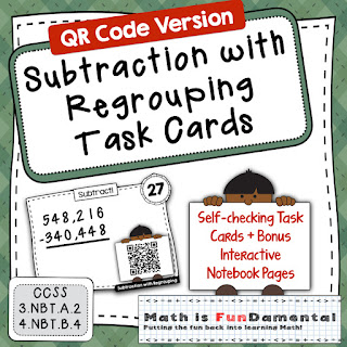 https://www.teacherspayteachers.com/Product/4th-Grade-Subtraction-with-Regrouping-with-self-checking-QR-Code-Task-Cards-2800258