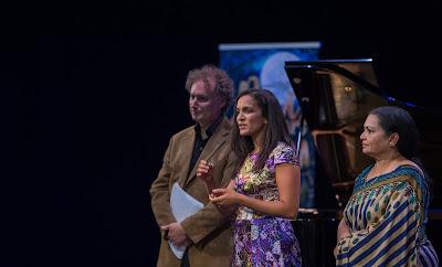 David Murphy with Anoushka and Sukanaya Shankar (Ravi Shankar's daughter & wife)  - photo Sim Canetty Clarke