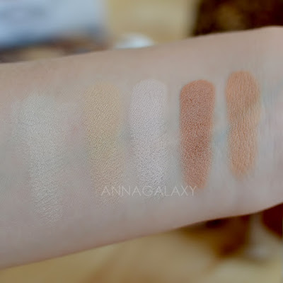 Свотчи светлых оттенков Палетки теней Makeup Revolution Re-Loaded Basic Mattes