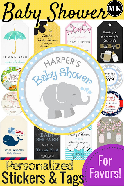Baby Shower Personalized Stickers Tags for Favors – I love these custom sticker and tag ideas for the thank you gifts for your guests. My favorites are the nautical and elephant designs, so cute! These are great for decorating things other than just the favors too, the stickers would be perfect as cupcake toppers! Whether your party is for a boy or a girl, you will find something perfect!