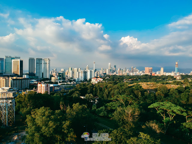 KL City featuring KL Tower and KLCC Sunset scenery - bird eye view captured using DJI Spark