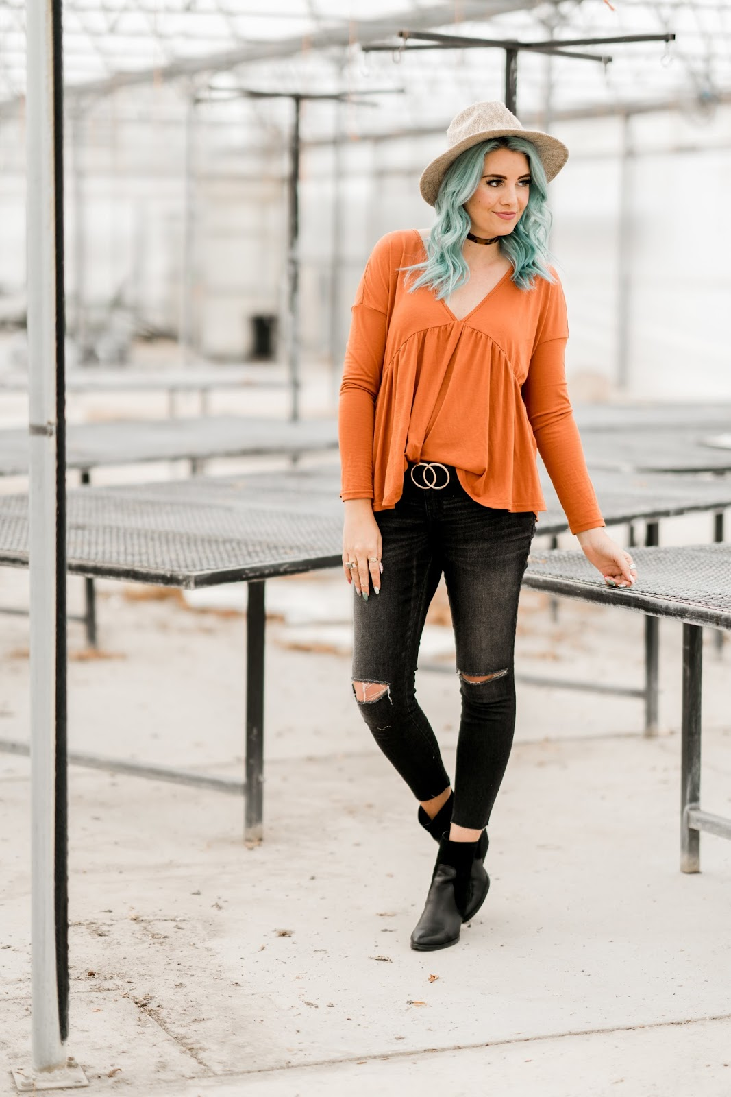 Maternity Jeans, Ripped Knee Jeans, Orange Shirt