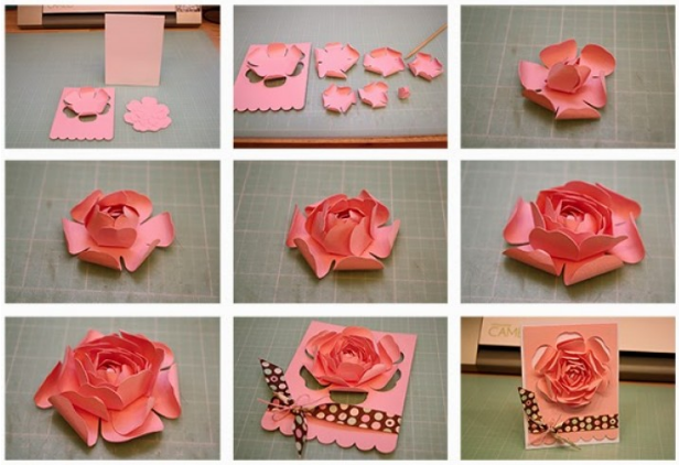 Cara Kreatif Membuat Kartu Ucapan Dengan Hiasan Origami Mawar