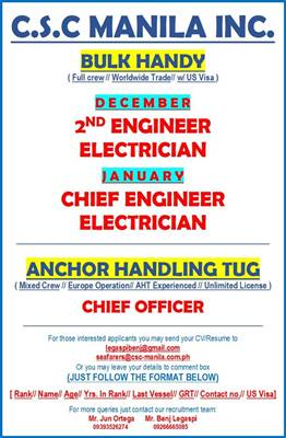 Chief Engineer, Chief Officer, 2/E, Electrician For Anchor