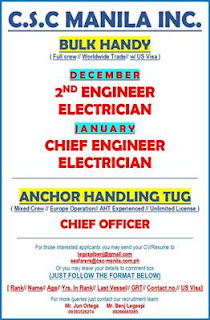 SEAMAN JOBS hiring for Filipino ship crew join on Anchor Handling Tug, Bulk Carrier Vessel deployment December 2018 - January 2019.