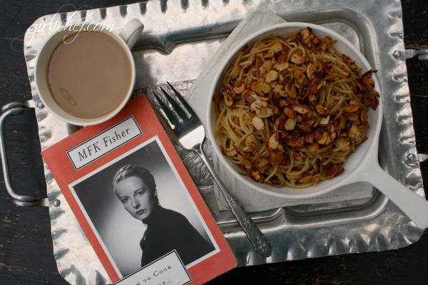 Spaghetti w/ Almonds in Cinnamon Honey Butter {cook the books: How to Cook a Wolf by MFK Fisher} | www.girlichef.com