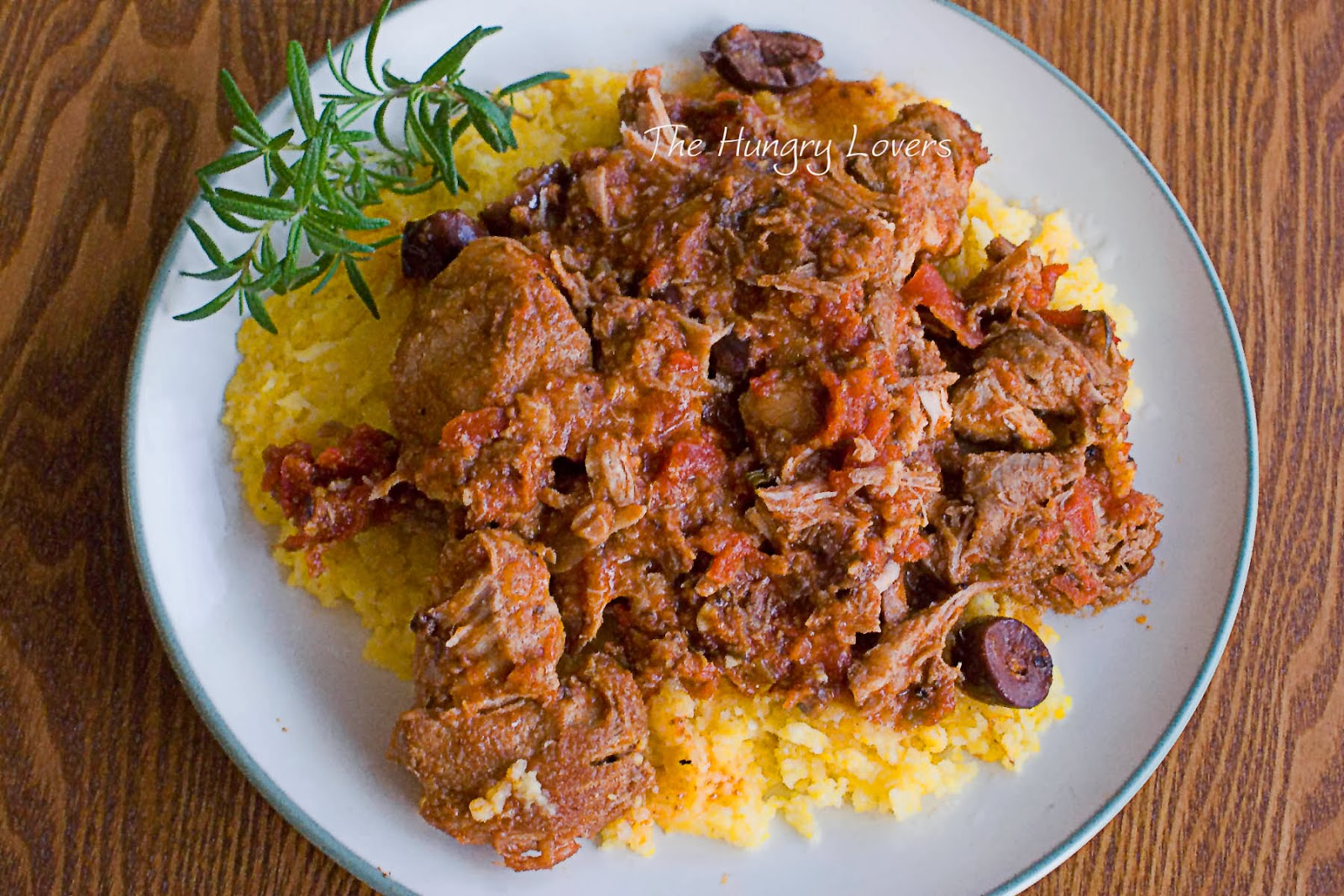 Rosemary and Olive Braised Pork Ribs with Polenta