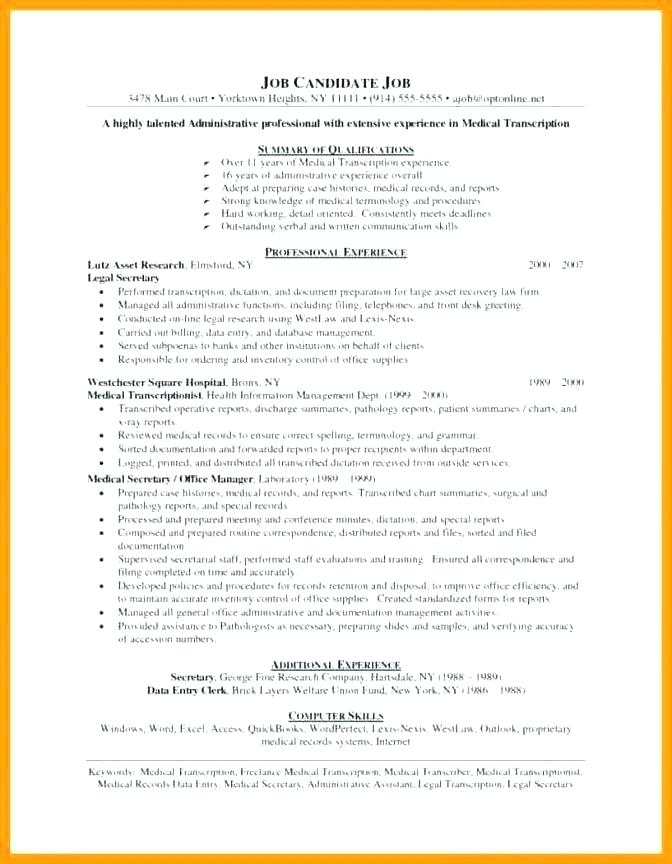 Medical Transcription Resume Samples Objective Statement For Teacher Cover Letter Template