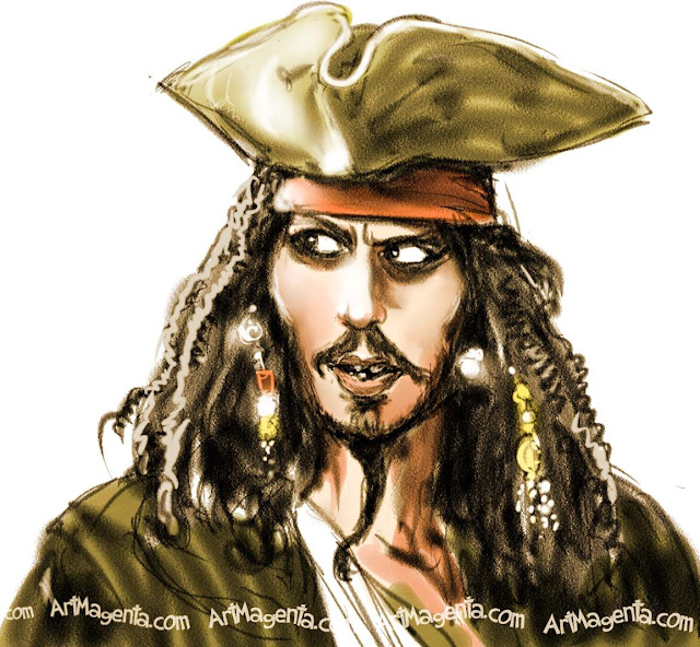 Jack Sparrow caricature cartoon. Portrait drawing by caricaturist Artmagenta