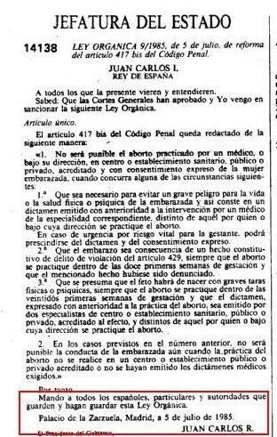 Facsímil de la Ley organica 9/1985, de 5 de julio, de reforma del artículo 417 bis del Código Penal