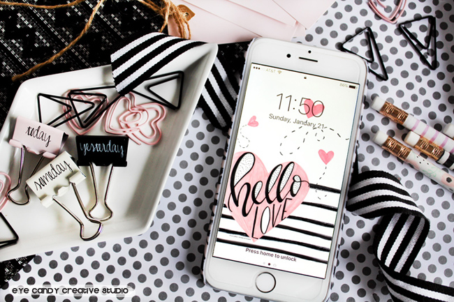 valentines cell phone wallpaper background, hand lettering, hello love, cell phone wallpaper