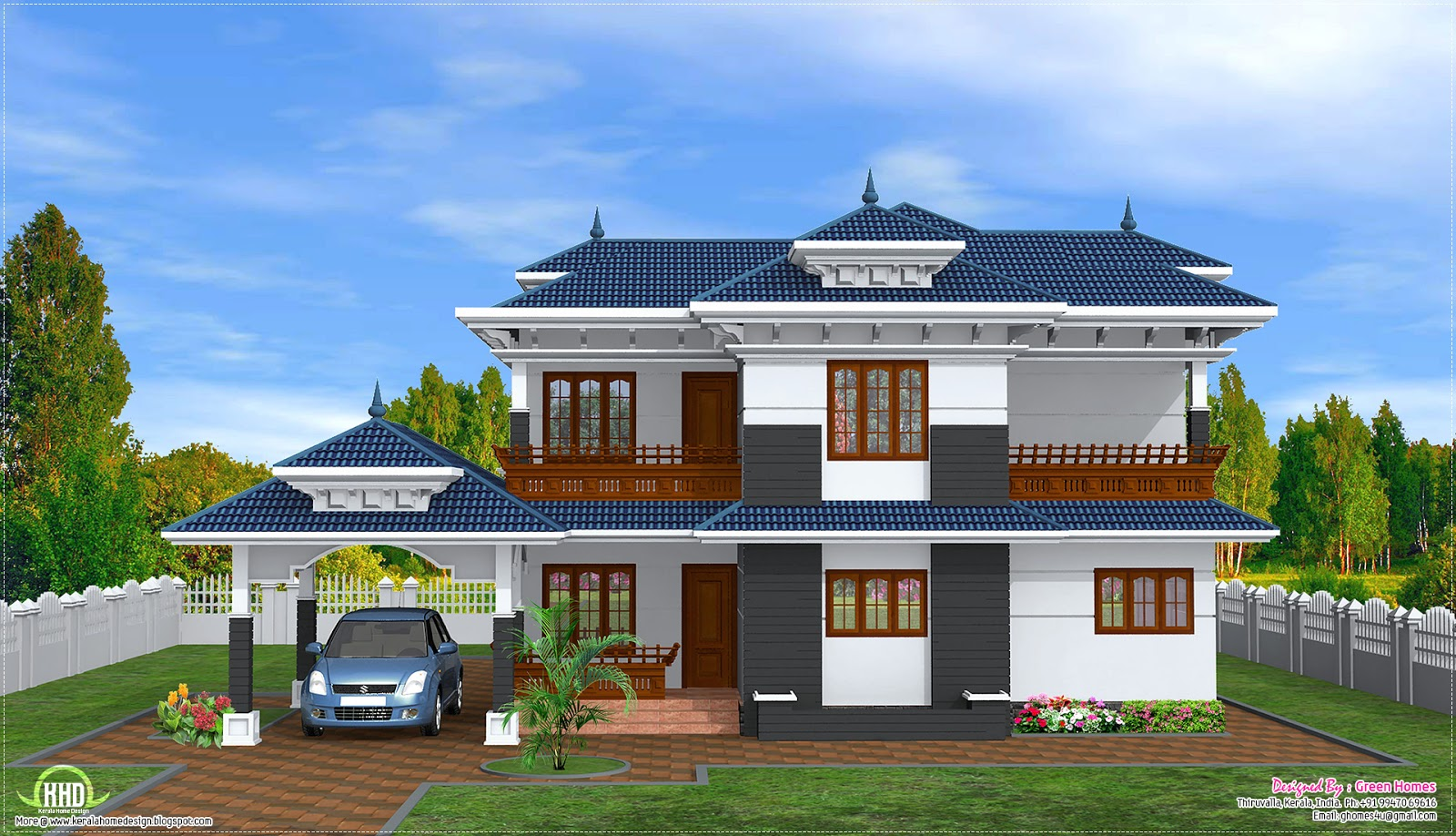 2 storey Kerala style home design   Home Decorators Collection 2400 sq ft home design