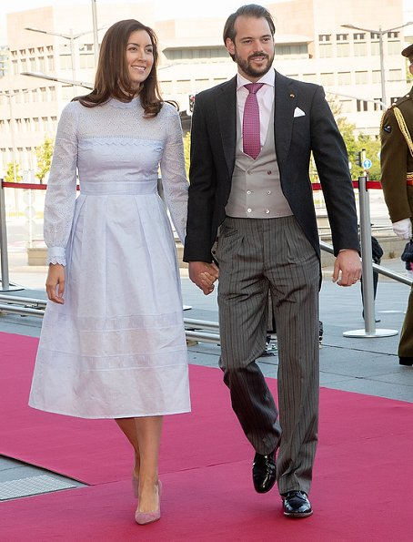 Princess Claire Vilshenko Pru Lace and Eyelet Cotton Midi Dress. Duke Henri, Maria Teresa, Prince Felix, Prince Louis, Princess Alexandra and Sebastian