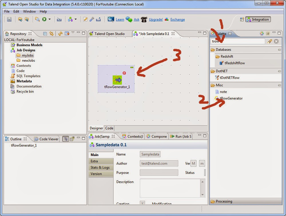 Talend Training: How to create sample data in talend