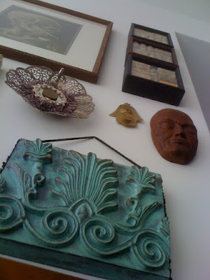 gallery wall, art, shadowbox, bohemian
