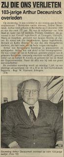 De 103-jarige Arthur Deceuninck en voormalig schepen van Bovekerke overleden