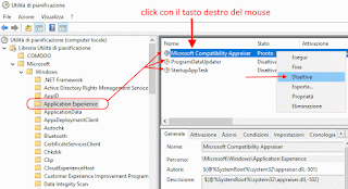 Windows 10 - Utilità di pianificazione - Applicationn Experience