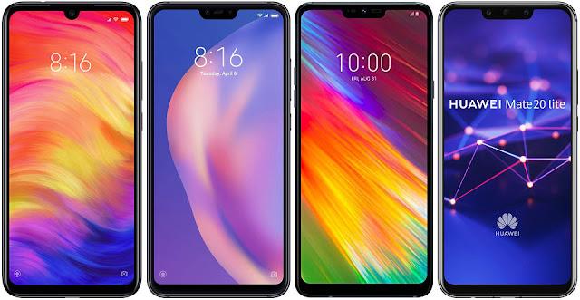 Xiaomi Redmi Note 7 64G vs Xiaomi Mi 8 Lite 64G vs LG G7 Fit vs Huawei Mate 20 Lite