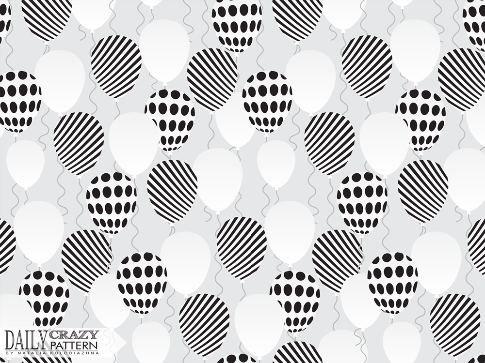 "Elegant black and white art print with balloons for ""Daily Crazy Pattern"" project"
